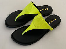 NEW! DONNA KARAN NEW YORK DKNY BLACK NEON GREEN THONG STRAP SANDALS SLIDES 6 36