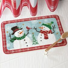 """""""Snow Time"""" Frosty The Snowman Christmas Bath Mat with Non-Slip Rubber Back"""