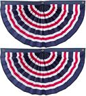 """(2 Pack) 60""""x30"""" Striped Red, White and Blue Patriotic Nylon Pleated Bunting"""