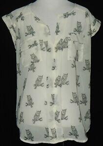 NWT Marisol Anthropology Womens Sheer Top Dark Gray Owls On Ivory Cap Sleeves #