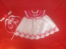 Newborn Baby Girl Dress Set - Fuchsia and White