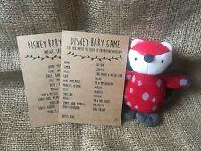 10 Brown kraft Baby Shower disney baby game, activity, inc answer sheet, unisex