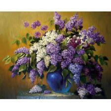 Diamond Embroidery Full 5D DIY Purple White Flowers Elegant Embroidery