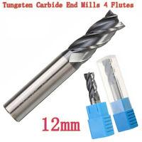 4 Flutes End Mill 12mm CNC Milling Cutter Metalworking Tungsten Carbide Bit Burr