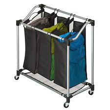 Laundry Sorter Hamper Washing Basket 3 Clothes Storage Bag Bin Organizer Steel