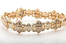 "Estate $20,000 12ct Baguette Round Diamond 14k Yellow Gold Bracelet 66g 8"" HEAVY"