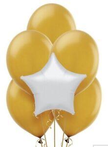 White Star Mylar/gold Latex Balloon Bouquet (13) Birthday Decoration