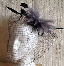 grey feather fascinator black french veiling veil hair clip brooch headpiece