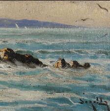 Andrea Borella Olio cm. 20 x 10 Marina Costa Livornese Livorno