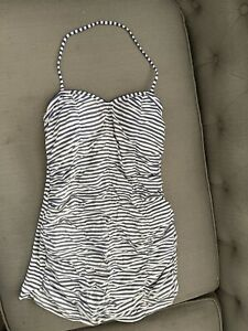 Seafolly Australia anthropologie Blue White Striped One-Piece Swimsuit Size 10