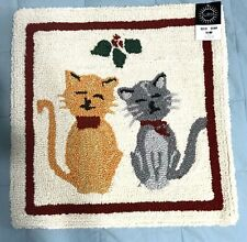 Christmas Cats Mistletoe Holiday Pillow Zipper Cover 18 X 18 Hooked