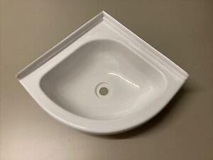 Caravan Motorhome Boat Bathroom White Plastic Corner Vanity Sink Bowl Camper Van