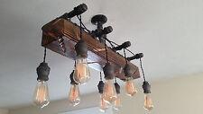 Distressed-Wood-Beam-Pendant-Chandelier-Pipe-light-Barn-wood-Industrial-rustic