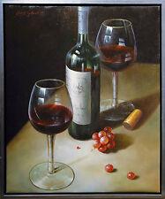 Henri Gautier *1955 Realismus Ölmalerei Leinwand 60x50 cm Stilleben mit Rotwein