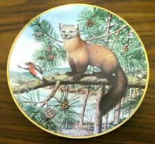 """Franklin Porcelain The Woodland Year """"American Marten in November Pines"""" Plate"""
