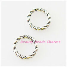 80 New Charms Round Circle Spacer Beads 8mm Tibetan Silver Tone