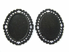 10pcs Black Frame Oval 30x40mm Pendant Trays Blanks Bases Cameo Cabochon Setting