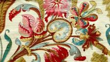 Gorgeous 1840 French Blockprint Structured Cotton Fabric Floral Ornaments 100x31