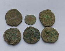 LOT OF 5 LARGE HEAVY UNCLEANED ANCIENT ROMAN BRONZE COINS AND 1 BYZANTINE