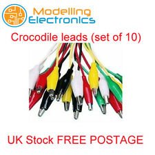 Alligator /Crocodile Clip 550mm Test Leads Set of 10 Coloured Leads 25mm Clips