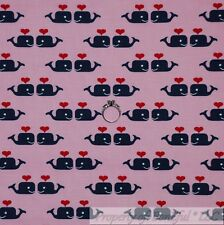 BonEful Fabric Fq Cotton Quilt Pink White Baby Girl Blue Whale Red Heart Stripe