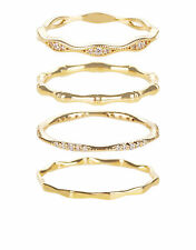 NEW NWT FOUR 4 ACCESSORIZE GOLD BAMBOO STACKING RING RINGS SET M MEDIUM