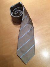 ETERNA Herren Krawatte Bnwt Beige Creme Blau Streifen 100% Seide UVP £ 35 jetzt £ 12