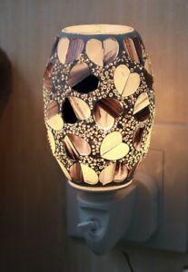 Heart Electric UK Plug In Aroma Lamp Wax Melt Warmer Oil Burner~Black Pearl Oval