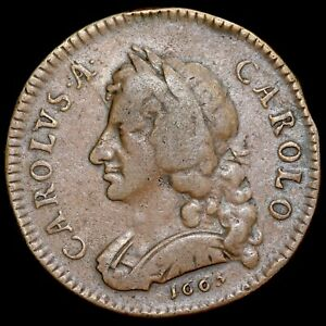 Charles II, 1665-85. Pattern Copper Farthing, 1665. By Rottier. With Old Ticket.