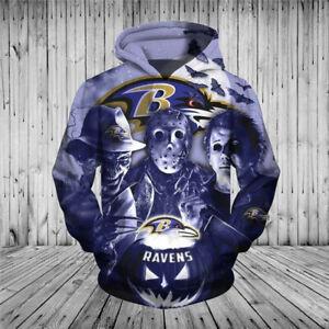 Baltimore Ravens Halloween Hoodie Sport Pullover Hooded Sweatshirt Casual Jacket