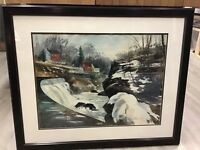 Howard Connolly Rhode Island Artist Large Watercolor Horseshoe Falls