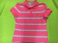 Tommy Hilfiger Girl's Pink & Blue & White Short Sleeve Polo.  Size Medium.