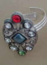 New Rhinestone Crystal Blue Silver Bollywood Indian Style Toe Ring Adjustable