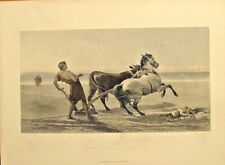 Ulysses Ploughing The Sea Shore, Horse, Cow, Baby Vintage 1874 Antique Art Print