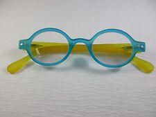 ROUND SOFT MATTE Rubber Flexible AQUA & LEMON Reading Glasses  +3.00