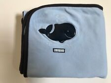2001 Gymboree BY THE SEA Reversible Baby Blanket Blue Red White Crab Whale