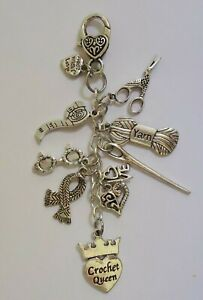 Crochet Queen Scissors Yarn Spectacles Love Scarf  Key ring Keeper Bag Charm