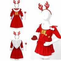 Kid Girl Christmas Tutu Dress Elk Headband Outfits Cosplay Party Santa Claus Set