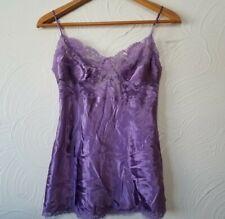 NWT Victoria's Secret Purple 100% Silk Babydoll Chemise Teddy Lace Hem Size S