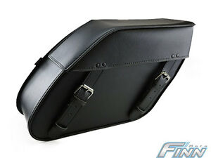 Black Motorcycle Lockable Saddlebags Set 110L XL Plain FREE P&H Triumph America