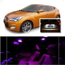 For Hyundai Veloster 2011+ Pink LED Interior Kit + Xenon White License Light LED