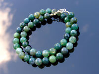 Moss Agate Natural Gemstone Necklace 8mm Beaded 16-30inch Healing Stone Chakra