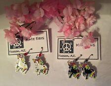 Silvertone White Rainbow or Black Rainbow UNICORN Dangle Earrings