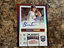 Brice Turang 2017 Contenders Playoff Ticket Auto  /15 Brewers  !!!