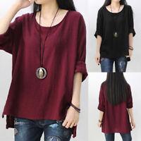 Women Long Sleeve Cotton Casual Loose Blouse Split Shirt Tops Jumper Plus