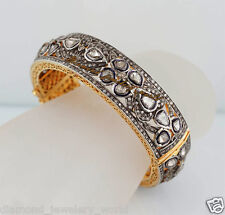 Silver Bridal Bangle Bracelets Jewelry Vintage 11.04cts Genuine Rose Cut Diamond
