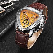 Luxus Herrenuhr Dreieck Automatik Mechanische Uhren Lederband Armbanduhr