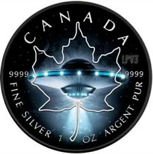 2017 1 Oz Silver $5 UFO ,GLOW IN THE DARK Maple Leaf Coin,With Black Ruthenium..