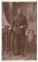 Postcard WW1 Unknown Regiment Soldier Swagger Stick British Army RPPC 9a