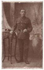 Postcard WW1 Unknown Regiment Soldier Swagger Stick British Army RPPC 9a